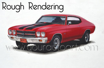 Rough Car Rendering of a 1970 Chevelle