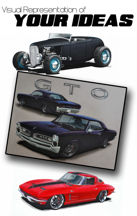 Group of Hot Rod Renderings